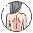 back, body, female, healthy, human, naked, organ icon