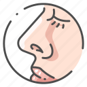 anatomy, body, face, human, medical, nose, smell icon