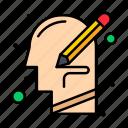 head, human, mind, thinking, write