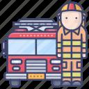 fireman, fire, truck, emergency