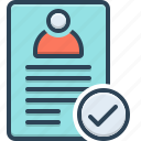 accept, approval, approve, assumptions, checkmark, list, successful icon