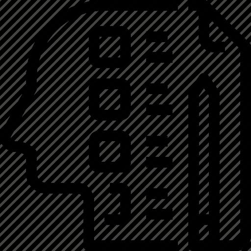 head, human, mind, process, testing icon