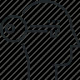 brain, human, key, lock, mind, unlock, unlocking icon
