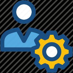 cog, man, profile setting, user, user settings icon