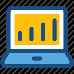 bar chart, bar graph, graph, laptop, statistics icon
