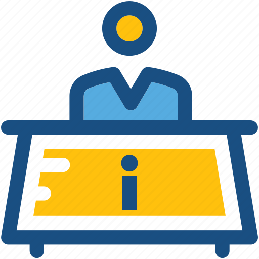 front desk, help desk, information counter, information desk, reception icon