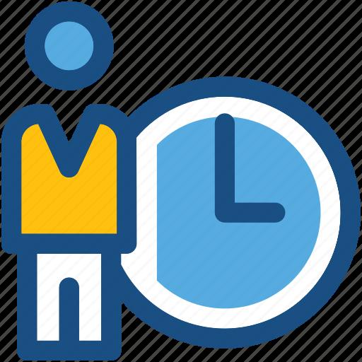 clock, deadline, man, punctual, time icon
