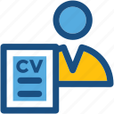 biodata, cv, job applicant, job profile, resume icon