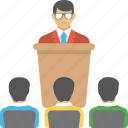 business conference, business meeting, business presentation, lecture, training session icon
