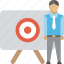aim, business goals, business target, employee goals, target audience icon