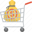 business investment, capital, cash savings, commerce, market cart icon