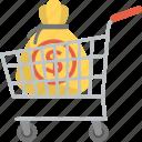 business investment, capital, cash savings, commerce, market cart