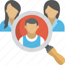 job hiring, magnifying glass, people group, recruitment, selection icon