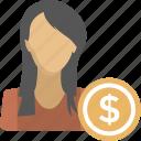entrepreneur, trader, investor, business woman, financer icon