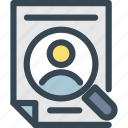 hr, human, job, magnifier, page, resources, search icon