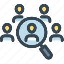 hr, human, job, man, resources, search, team icon