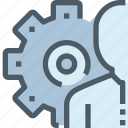 business, corporate, gear, human, people, process, resources icon