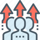 arrow, business, corporate, human, people, resources, team icon