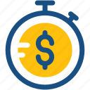 chronometer, dollar, stopwatch, tax reminder, timekeeper icon