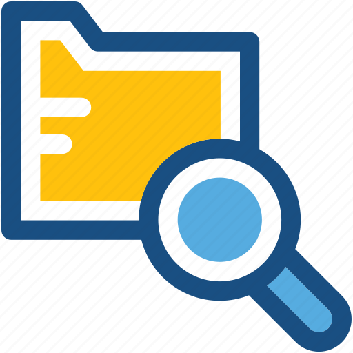 documents, find folder, folder magnifying, magnifier, search folder icon