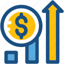dollar, growth, profit, progress, promotion icon