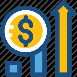 dollar, growth, profit, progress, promotion icon