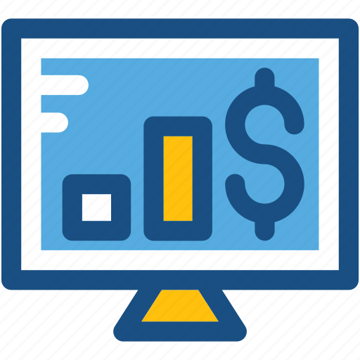 dollar, monitor, online earning, online money, online payment icon