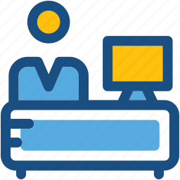 employee, office, office desk, worker, workstation icon