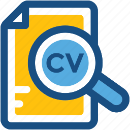 cv, find employee, magnifier, recruitment, search employee icon