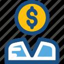accountant, businessman, businessperson, financier, investor