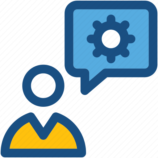 chat support, cog, customer support, speech bubble, user icon