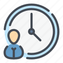 clock, employee, person, team, time, user, workflow icon