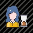 deadline, employee, female, hourglass, stopwatch