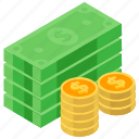 money cash, currency, banknotes, dollars, paper money, liquid asset icon