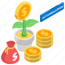 business development, economy, investment, money growth, money plant, wealth accumulation icon