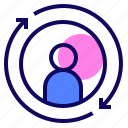 arrows, employee, recruitment, turnover icon