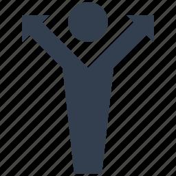 arrow, dirrection, human, men, person, resource icon