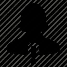 alert, avatar, human, user, warning, woman icon