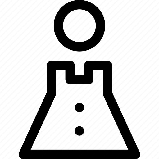 buttons, clothes, fasten, female, human, triangle, woman icon