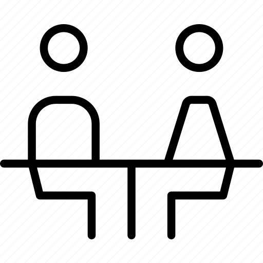 couple, female, male, meal, sitting, table icon