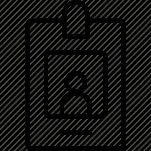 badge, card, human, identity, person, profile icon