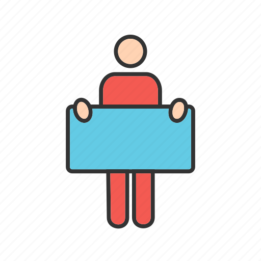 business, businessman, holding, man, people, person, sign icon