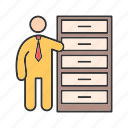 business, distribution, factory, inventory, management, manager, warehouse icon