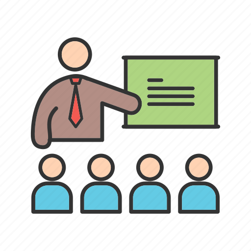 class, classroom, college, conference, lecture, people, students icon