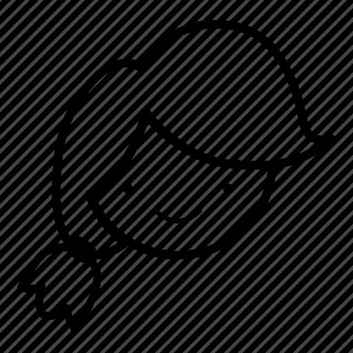emoji, face, girl, hair, human, ponytail, tied icon
