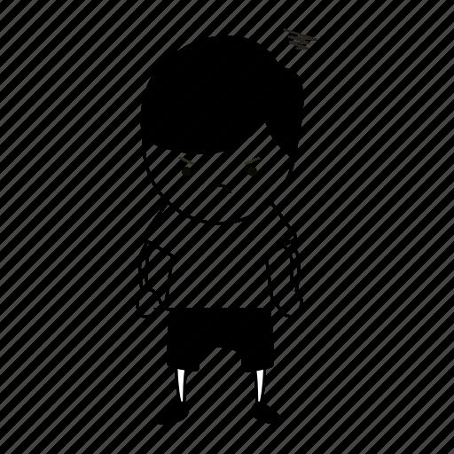 angry, boy, guy, human, kid, sketch icon