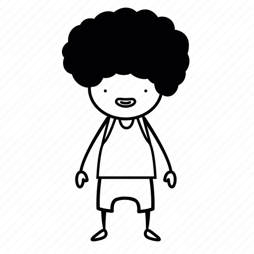 afro, basketball, blackpower, body, boy, full, sketch icon