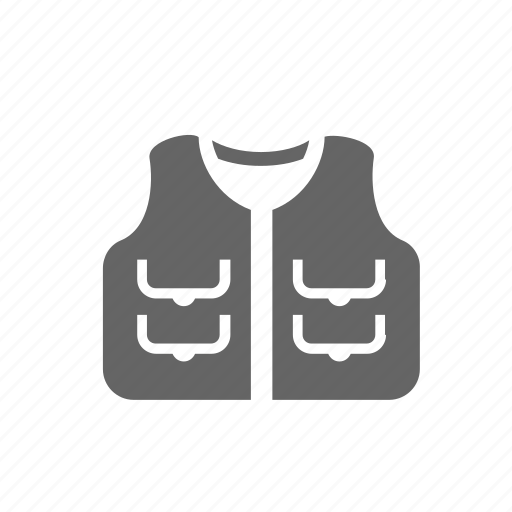 accessories, clothes, equipment, hunting, vest, waistcoat, wear icon