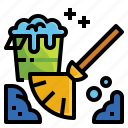 broom, brush, cleaning, dustpan, wash icon