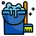 broom, bucket, cleaner, pai, wash icon